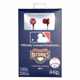 iHip MLB Baseball Sports Earphones Washington Nationals Logo Earbuds