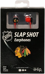 iHip NHL Hockey Sports Earphones Chicago Blackhawks Logo Earbuds
