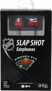 iHip NHL Hockey Sports Earphones Minnesota Wild Logo Earbuds