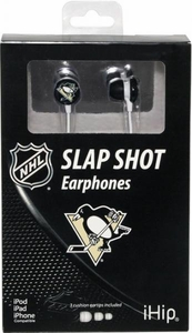 iHip NHL Hockey Sports Earphones Pittsburgh Penguins Logo Earbuds