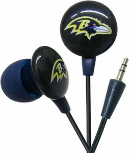 iHip NFL Football Sports Earphones Baltimore Ravens Logo Earbuds
