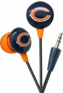 iHip NFL Football Sports Earphones Chicago Bears Logo Earbuds