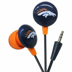 iHip NFL Football Sports Earphones Denver Broncos Logo Earbuds
