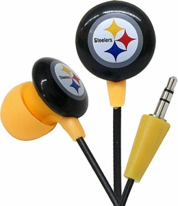 iHip NFL Football Sports Earphones Pittsburgh Steelers Logo Earbuds