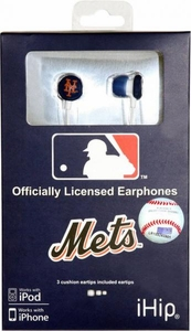 iHip MLB Baseball Sports Earphones New York Mets LOGO Earbuds