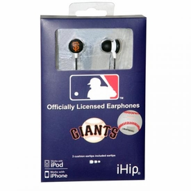 iHip MLB Baseball Sports Earphones San Francisco Giants Logo Earbuds