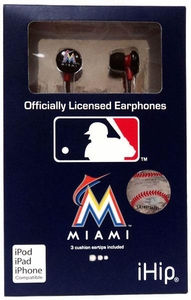 iHip MLB Baseball Sports Earphones Miami Marlins LOGO Earbuds