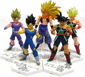 Dragon Ball Kai Bandai Set of all 5 Hybrid Grade 4 Inch Figures [SS3 Gogeta, SS Majin Vegeta, Vegeta, SS Bardock & Bardock]
