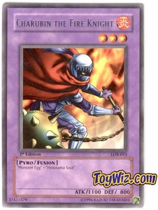 YuGiOh Legend of Blue Eyes White Dragon Single Card Rare LOB-015 Charubin the Fire Knight