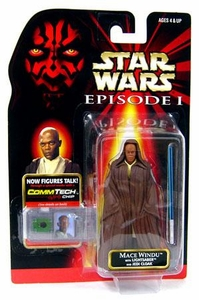 Star Wars Phantom Menace Action Figure Mace Windu [Lightsaber & Jedi Cloak]