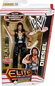 Mattel WWE Wrestling Elite Series 16 Action Figure Diesel {Kevin Nash} [Biker Vest & Classic Winged Eagle Championship Belt!]