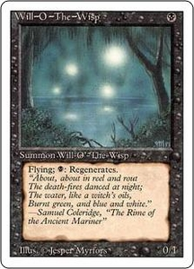 Magic the Gathering Revised Edition Single Card Rare Will-o'-the-Wisp Played Condition