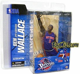McFarlane Toys NBA Sports Picks Series 7 Action Figure Ben Wallace (Detroit Pistons) Blue Jersey Corn Row Variant