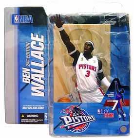 McFarlane Toys NBA Sports Picks Series 7 Action Figure Ben Wallace 2 (Detroit Pistons) White Jersey Corn Row Variant