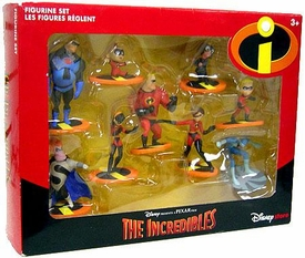 Disney's The Incredibles 9 Piece PVC Figurine Set Damaged Package, Mint Contents! Impossible to Find!