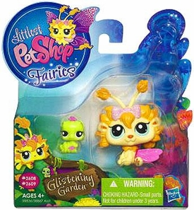 Littlest Pet Shop Enchanted Fairies Glistening Garden 2-Pack Dandylion Fairy with Inchworm