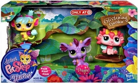Littlest Pet Shop Enchanted Fairies Glistening Garden Exclusive 3-Pack Purple Dragon, Rose & Daffodil
