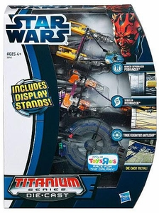 Star Wars 2012 Exclusive Titanium Series Die-Cast Mini Vehicle 3-Pack Anakin Skywalker Podracer, Sebulba Podracer & Trade Federation Battleship