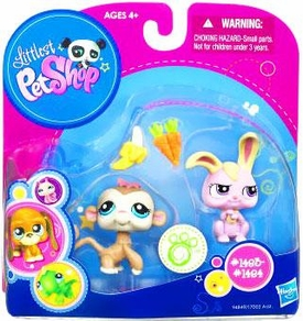 Littlest Pet Shop Exclusive Pet Pairs Monkey & Pink Bunny Rabbit