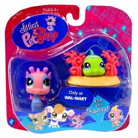 Littlest Pet Shop Exclusive Fanciest Pet Pair Pink Seahorse & Green Fish