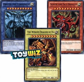 YuGiOh Legendary Collection Ultra Rare Single Card Set of 3 Egyptian God Cards Slifer, Obelisk & Ra
