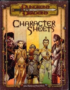 Dungeons & Dragons Book SoftcoverCharacter Sheets [Used Condition: Incomplete Fine]