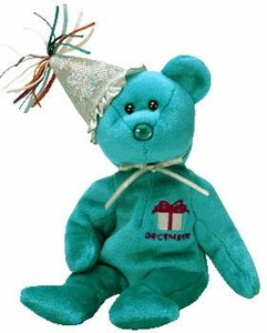 Ty Beanie Baby December the New Version Birthday Bear