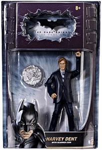 Batman Dark Knight Movie Master Deluxe Action Figure Harvey Dent with Scarred Coin