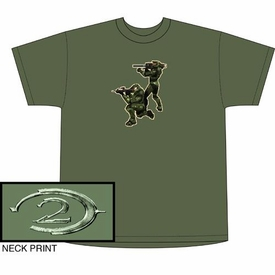 Halo 2 Adults T-Shirt Green Co-Op Tee