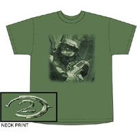 Halo 2 Adults T-Shirt Distressed Master Chief  Green