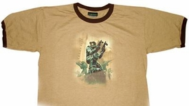 Halo 3 Adults T-Shirt Battle Scene Logo [Tan]