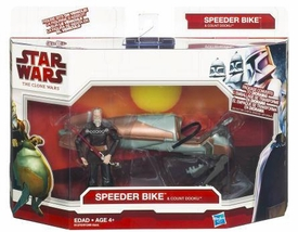 Star Wars 2009 Clone Wars Vehicle Figure Pack Speeder Bike with Count Dooku