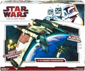 Star Wars 2009 Clone Wars Vehicle V-19 Torrent Starfighter