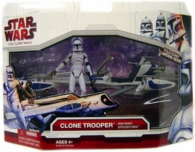 Star Wars 2009 Clone Wars Vehicle Figure Pack Clone Trooper with Barc Speeder Bike [Blue Trim]jor