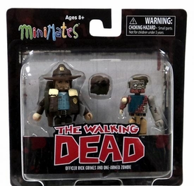 Walking Dead Minimates Series 1 Mini Figure 2-Pack Officer Rick Grimes & One-Armed Zombie