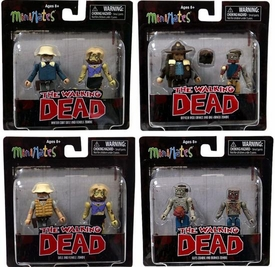 Walking Dead Minimates Series 1 Set of 4 Mini Figure 2-Packs