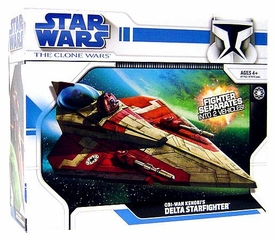 Star Wars Clone Wars Animated Series Vehicle Obi-Wan Kenobi's Delta Starfighter [Red Trim]