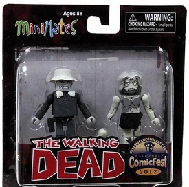 Walking Dead 2012 Halloween ComicFest Exclusive Minimates Mini Figure 2-Pack Black & White Winter Coat Dale & Female Zombie BLOWOUT SALE!