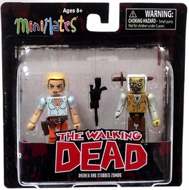 Walking Dead Minimates Series 2 Mini Figure 2-Pack Andrea & Stabbed Zombie