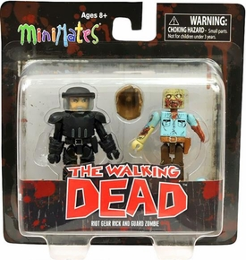 Walking Dead Minimates Series 3 Mini Figure 2-Pack Riot Gear Rick & Guard Zombie