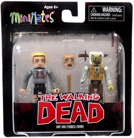 Walking Dead Minimates Series 2 Mini Figure 2-Pack Amy & Zombie [Variant]