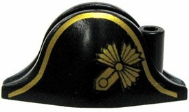LEGO LOOSE Accessory Black Bicorne 'Cocked Hat' with Gold Trim & Badge