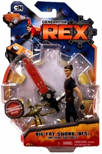 Generator Rex 4 Inch Action Figure Big Fat Sword [BFS] Tactical Suit Rex [Dark BLUE Shirt]