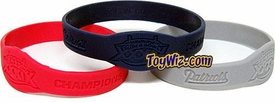 Official NFL Super Bowl XXXIX New England Patriots Championship Rubber Bracelets 3-Pack