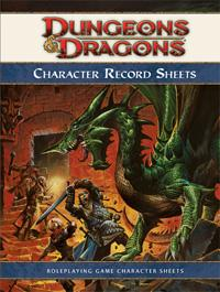 D&D Dungeons & Dragons 4th Edition Character Record Sheets