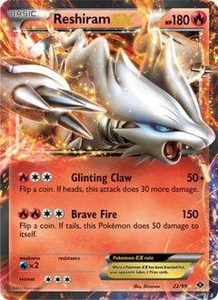 Pokemon Black & White Next Destinies Single Card Rare Holo ex #22 Reshiram-EX
