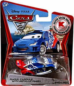 Disney / Pixar CARS 2 Movie Exclusive 1:55 Die Cast Car Silver Racer Raoul Caroule