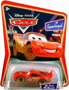 Disney / Pixar CARS Movie 1:55 Die Cast Car Series 2 Supercharged Dirt Track Lightning McQueen [Muddy]