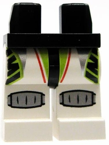 LEGO LOOSE Legs Black Hips with White Legs, Lime Green Patterns & Silver Shin Guards