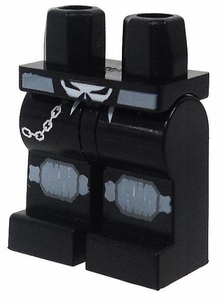 LEGO LOOSE Legs Black Legs with Skull Buckle, Knee Pads & Belt Chain